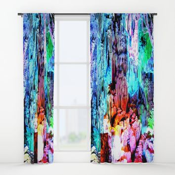 Cavern in Greece Window Curtains by Azima
