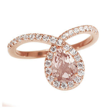 Rose Gold Morganite Engagement Ring, Halo Ring, Pear Shaped Ring, 14K Rose Gold Ring, Art Deco Ring, Unique Engagement Ring