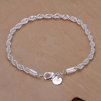 Genuine Charm Whip Silver Twisted Rope Bracelet Thick Chain Link Ladies Gifts Top Quality