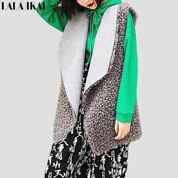 2017 Womens Faxu Fur Vest Coat Thick Fleece Turn Down Collar Long Waistcoat Women Winter Autumn Vintage Coat Vest SWE0121-45