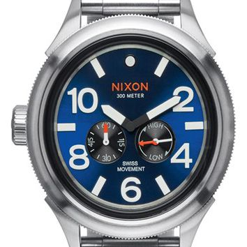 Men's Nixon 'The October Tide' Multifunction Bracelet Watch, 49mm - Silver/ Blue