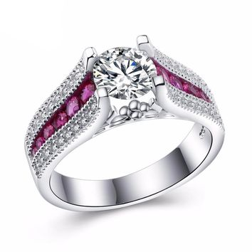 Pink CZ White Gold Plated Wedding Engagement Ring