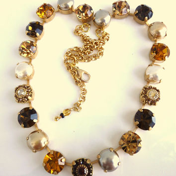 Swarovski crystal necklace- 11mm topaz and pearls- better than sabika- GREAT DEAL