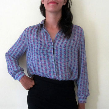 grey purple button up top / checked long sleeves blouse / gray striped shirt / japanese blouse