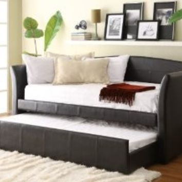 Amazon.com: Homelegance Meyer 4956PU* Bi-Cast Vinyl Daybed with Trundle, Dark Brown: Home & Kitchen