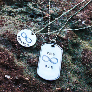 Personalized Infinity Couples Necklaces - Matching Couples Necklace Set - His & Hers Infinity Necklace Set