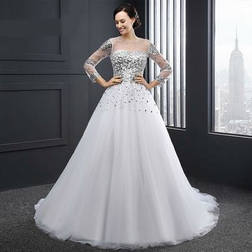 Newest White A Line Scoop Neck Tulle Long Wedding Dresses Beading Lace Up Long Sleeves Wedding Gowns