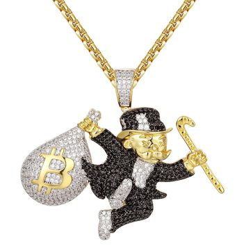 Black Monopoly Man Bitcoin Money Bag Silver Pendant