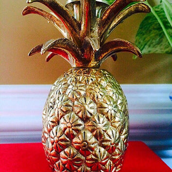 Brass Pineapple Candle Holder, Gold Pineapple Candlestick Holder, Vintage Pineapple Home Decor