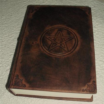 Italian handmade leather journal - engraved with pentacle and bookbinding tools- book of shadows