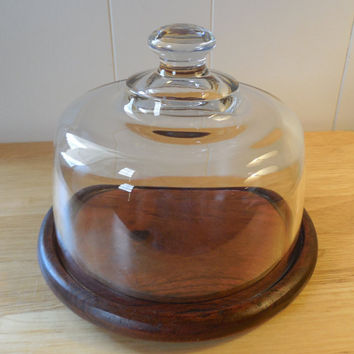 """Wood Cheese Board with Glass Lid, Gailstyn Sutton, 7 3/8"""" Wide, Danish Vintage Cheese Board,1970s Cheese Board with Lid"""