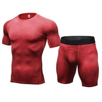Men's 2 Pc 3D Scale Print Yoga Shirt + Shorts