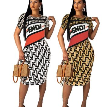 FENDI Summer Newest Hot Sale Women F Letter Print Short Sleeve Dress