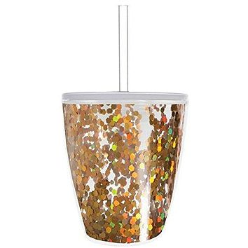 Slant Collections 10oz Stemless Wine Glass: Gold Confetti