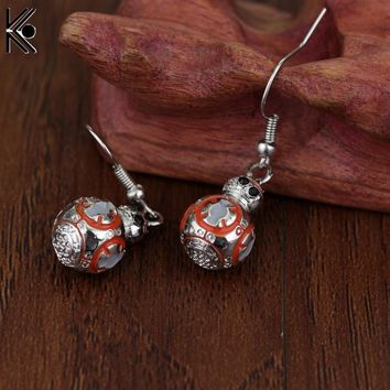 Free Shipping Star Wars Millennium Falcon Spacecraft Earrings TARDIS 3D BB-8 Silver robot Golden Snitch Assassins creed earrings