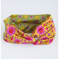 TURBAN HEADBAND HOT PINK FLOWER