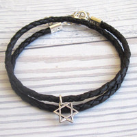Men's Bracelet - Black Leather Bracelet With Silver Plated Star Of David Pendant - Mens Jewelry - Symbol Jewelry - Gift for Him