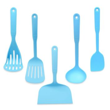 Blue Coated Food Grade Cookware Spatula Scraper Colander Spoon Set Utensils Cooling Kitchen Tools