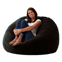 Black 4-Foot Memory Foam Bean Bag Chair Bedroom Living Room Dorm Lounge