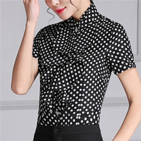New 2017 Summer Short Sleeve Shirt Ruffled Polka Dot Blouse Womens Tops And Blouses Korean Style Plus Size Tops S To 4XL