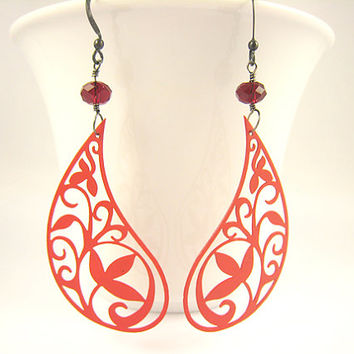 Red Paisley Filigree Earrings Valentines Day 2014