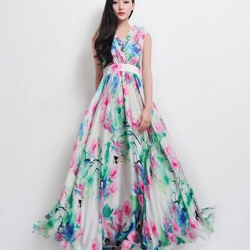 Bohemian Boho Chic Green Pink Floral Print Chiffon A-line Dress Beach Wedding Bridesmaid Full Pleated Skirt Casual Holiday Fashion Ball Gown