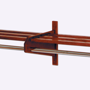 Wooden Mallet Oak Finish 73 3/4 Home Double Coat and Hat Rack / Stand With 5/8 Chrome Bar Mahogany