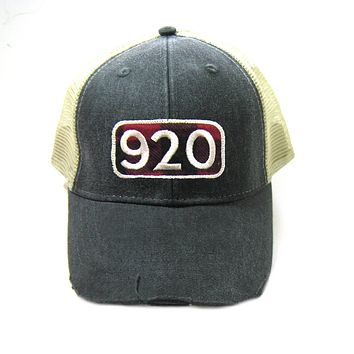 920 Area Code Hat - Distressed Snapback Trucker Hat - Area Code Buffalo Check Patch Green Bay