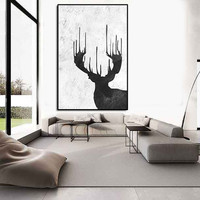 Deer Wall art, Abtract painting large, extra large wall art, large wall art canvas, black and white wall art, abstract acrylic painting