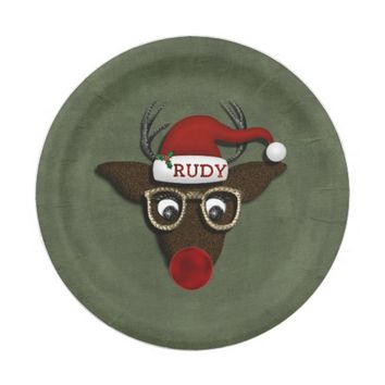 Rudolph CHRISTMAS PARTY PAPER PLATES