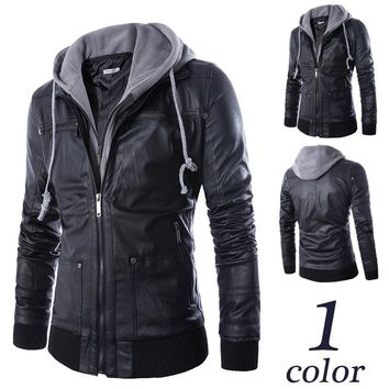 Black Hooded Zip Leather Jacket
