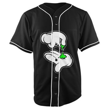 Mickey Hands Rolling Up Black All Over Full Print 3D Diy Sublimated Cotton & Polyester Blend Unisex Button Up Baseball Jersey