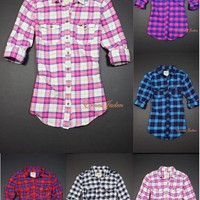 NEWEST Hollister by Abercrombie womens Newport Flannel Classic Plaid Shirt NWT