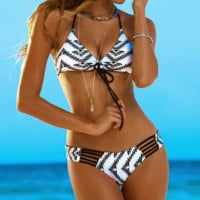 Geometry Sexy High Waist Bohemian Aztec Ethnic Tribal Printed Bikini Set