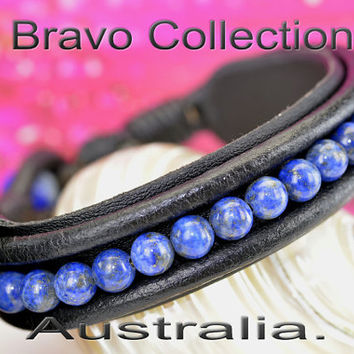 B-289 Genuine Lapis Lazuli Stones & Leather New Surf Wristband Men Bracelet