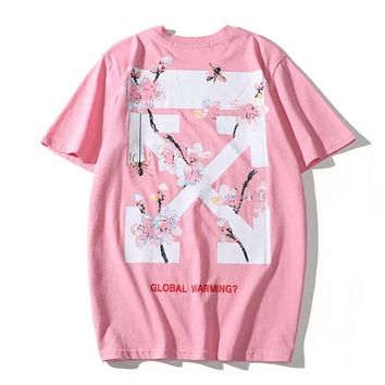 Off White Summer New Fashion Back Cross Arrow Floral Print Women Men Shopping Top T-Shirt Pink
