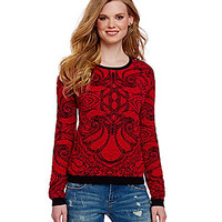 Chelsea & Violet Paisley Jacquard Sweater - Lipstick Red