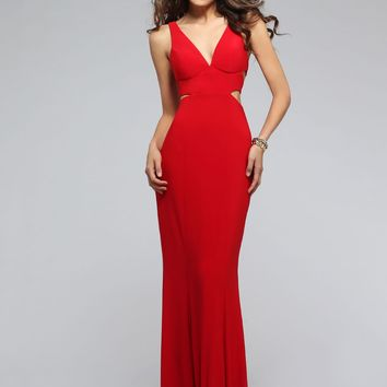 Faviana 7541 Red V-Neck Jersey Side Cut Out Dress