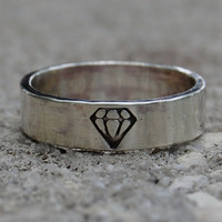 Diamond Ring - Sterling Silver - Hand Forged - Recycled Eco Friendly - Custom Size