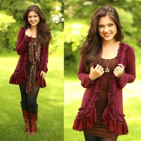 Braided & Beautiful Cardigan in Burgundy