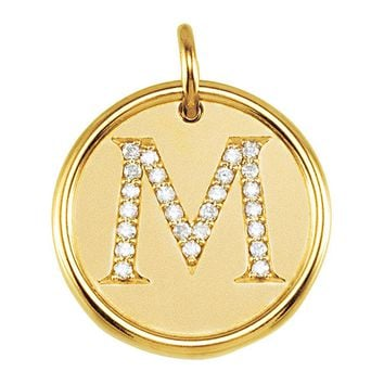 1/8 Ctw G-H, I1 Diamond initial 17mm 14k Yellow Gold Pendant Letter M