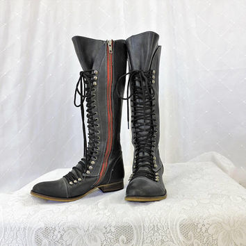 90s tall black lace up combat boots / size 8 / goth punk boho / knee high black lace up army boots / SunnyBohoVintage