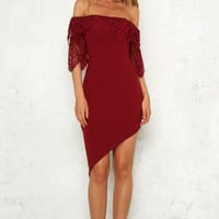 Magic Spells Midi Dress Wine