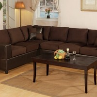 2 pc Chocolate Microfiber two tone reversible sectional sofa with Free pillows