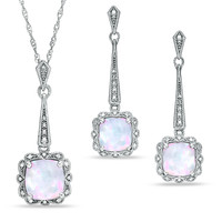 Cushion-Cut Lab-Created Opal Vintage-Style Pendant and Earrings Set in Sterling Silver
