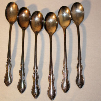 Set of Six Wm Rogers & Son Ice Tea Spoons, Juliette Pattern Spoons, Vintage Silver Plate Flatware