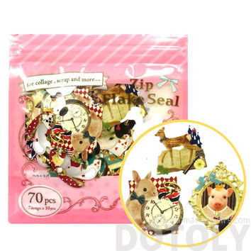 Animals and Alice in Wonderland Themed Bunny Owl Pig Shaped Japan Zip Flakes Seal Sticker Set, 70 Pieces - S060-A