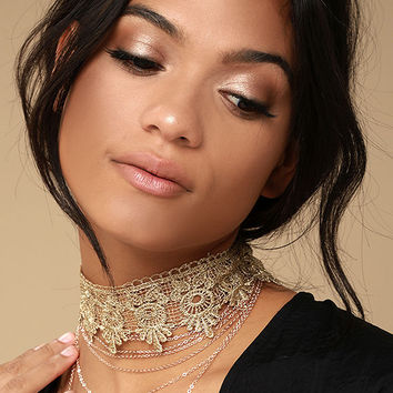More than Yesterday Gold Lace Layered Choker Necklace