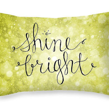 Shine Bright Inspirational Quote Pillow Quote Gold Decorative Pillow with Saying - Glam Decor Gold Glitter Pillow Teen Room Decor