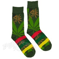 Green Weed Leaf & Rasta Striped Socks